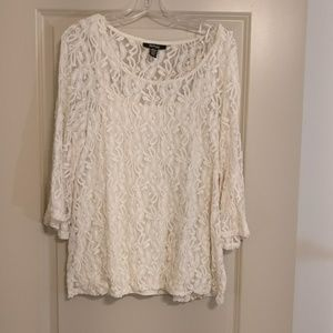 Style & co lace blouse with Cami in ivory